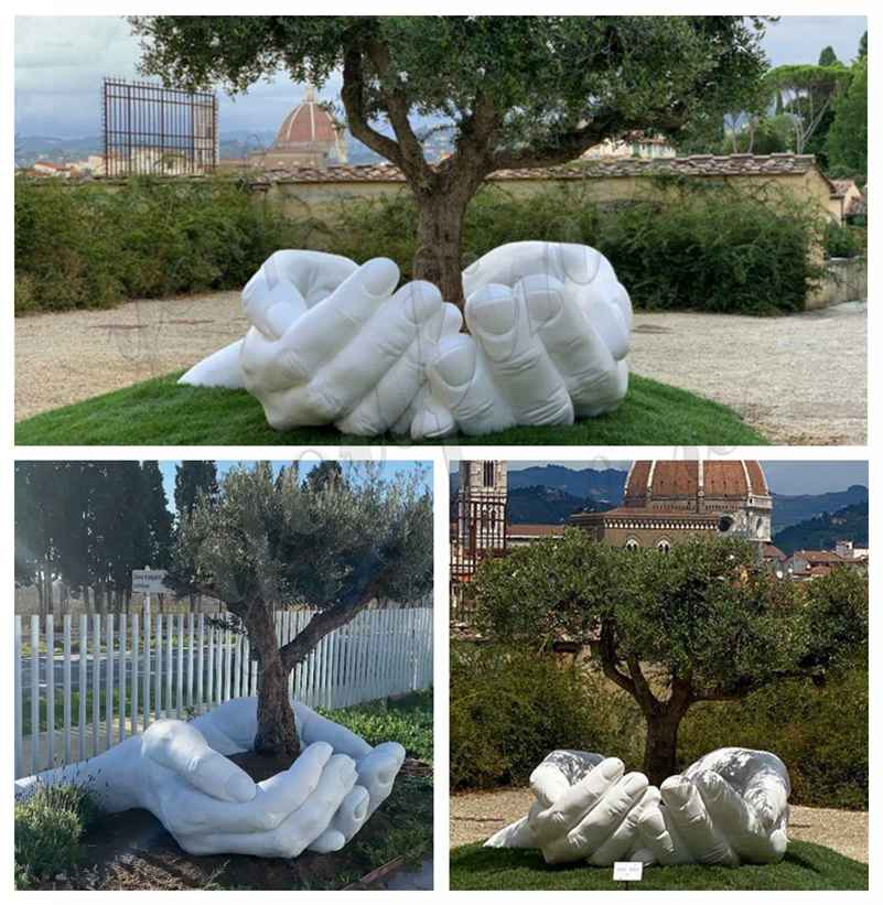 Outdoor Large Hands Marble Sculpture for Garden Decor