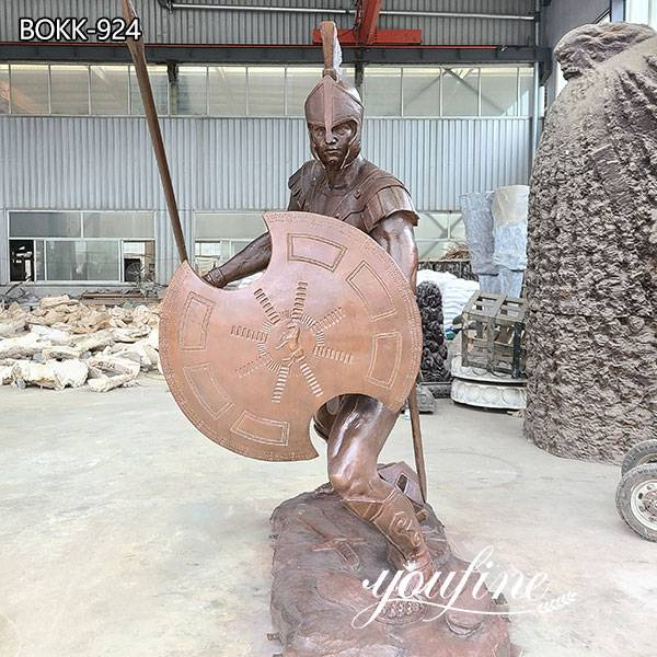 Outdoor Life Size Bronze Spartan Soldier Statue Factory Supply