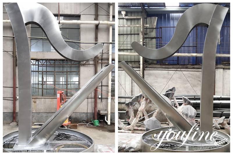 Outdoor Metal Water Fountain Harp Sculpture