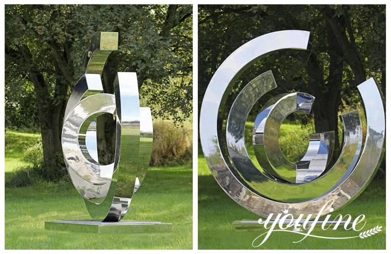 Outdoor Mirror Stainless Steel Ring Sculpture Urban Landscape