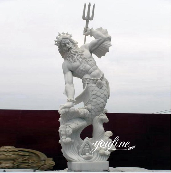 Garden Decor Life Size Poseidon Marble Statue for sale MOKK-778