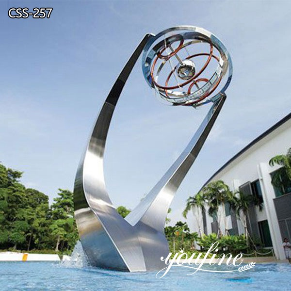Stainless Steel Fountain Sculpture Outdoor Public Park Decor for Sale