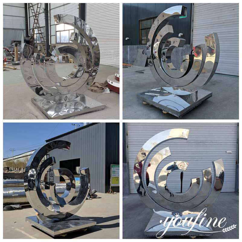 Stainless Steel Ring Sculpture Urban Landscape Decor for Sale