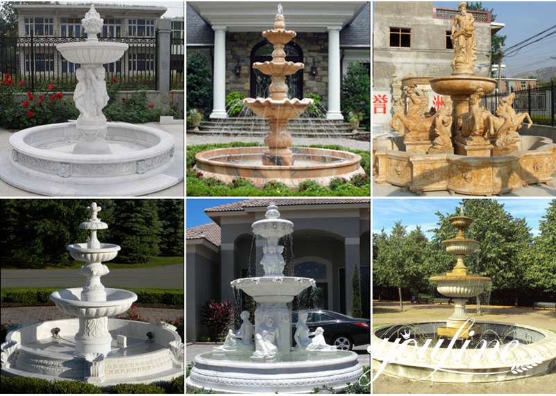 Three Tiered Marble Fountain Outdoor Villa