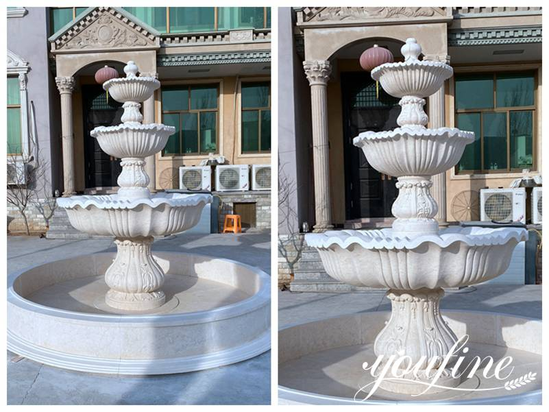 Three Tiered Marble Fountain Outdoor Villa Garden Decor