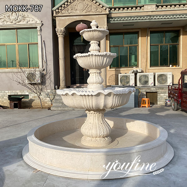 Three Tiered Marble Fountain Outdoor Villa Garden Decor for Sale