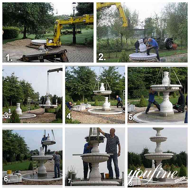 Two Tiered Marble Water Fountain installation