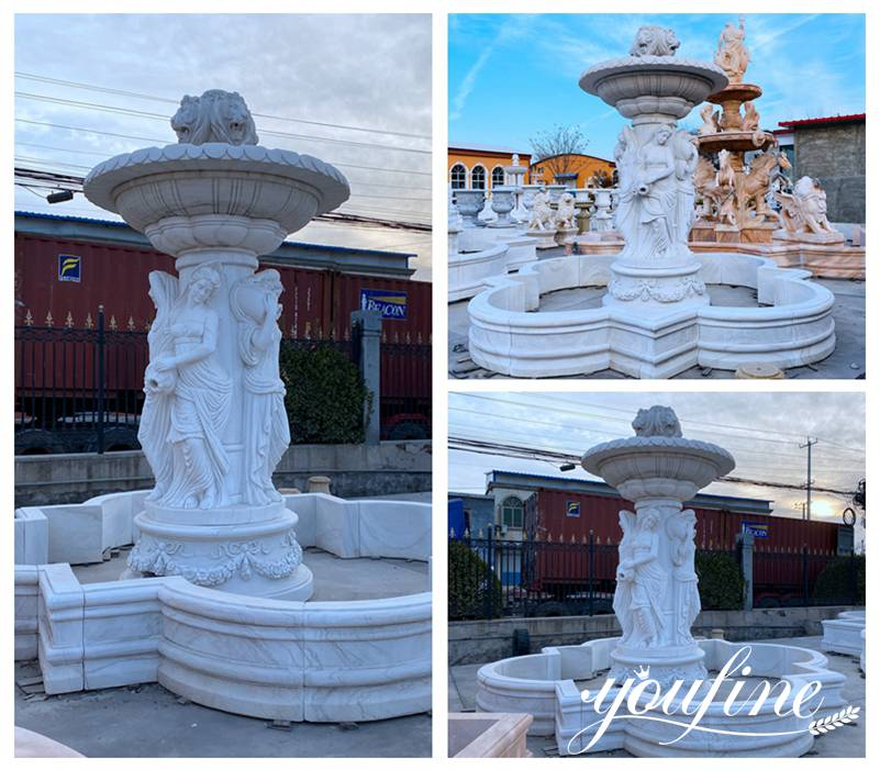 White Marble Outdoor Water Fountain Statues for Sale