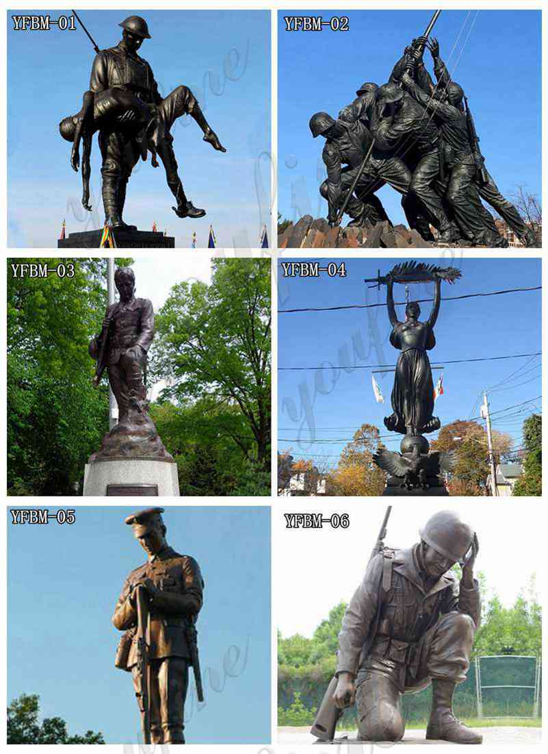 military bronze statue