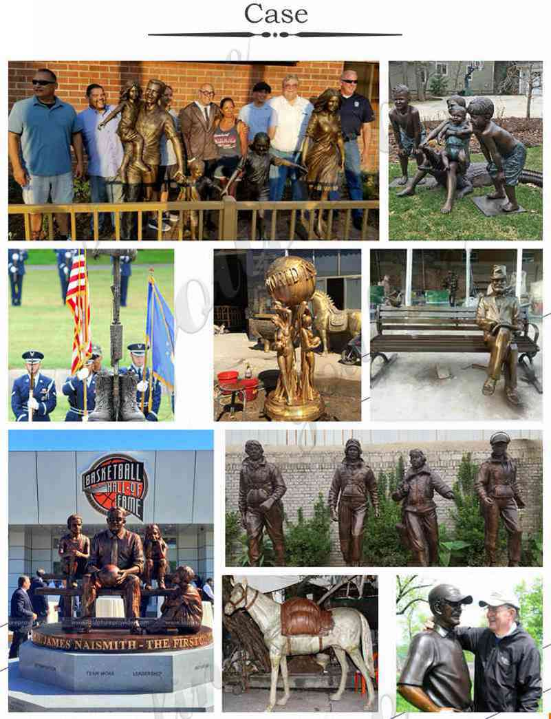 our case of custom bronze statues