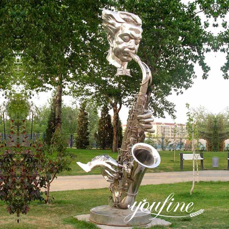 outdoor metal saxophone musician sculptures