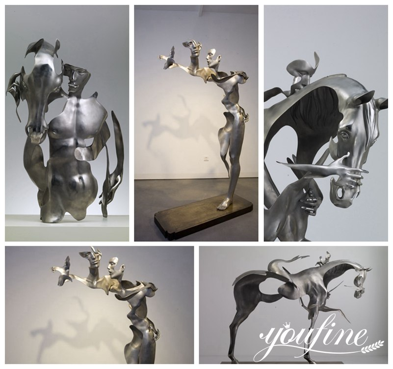 Abstract Modern Metal Horseman Sculpture Hotel Villa Decor