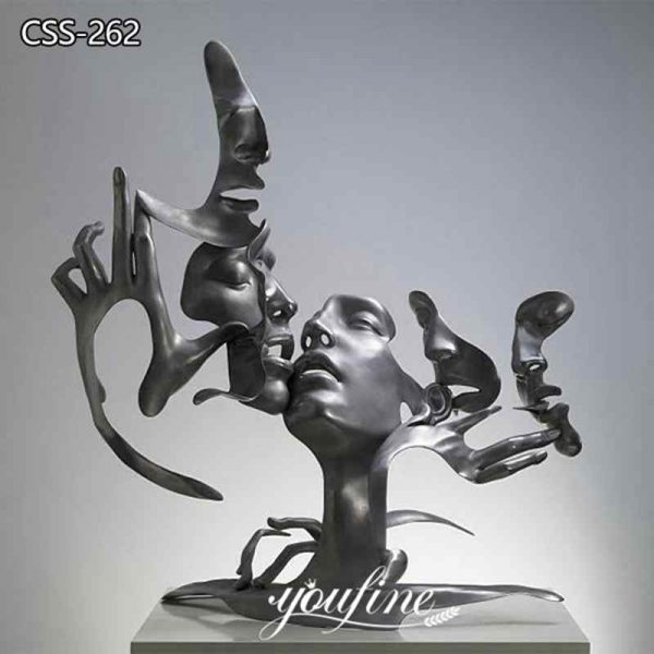 Abstract Unmask Group Metal Statue Modern Sculpture Art for Sale