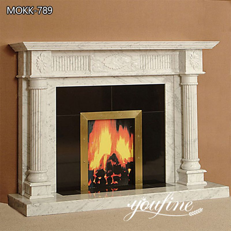 Alexandria Style White Marble Fireplace Surround Indoor Decorations for Sale MOKK-789