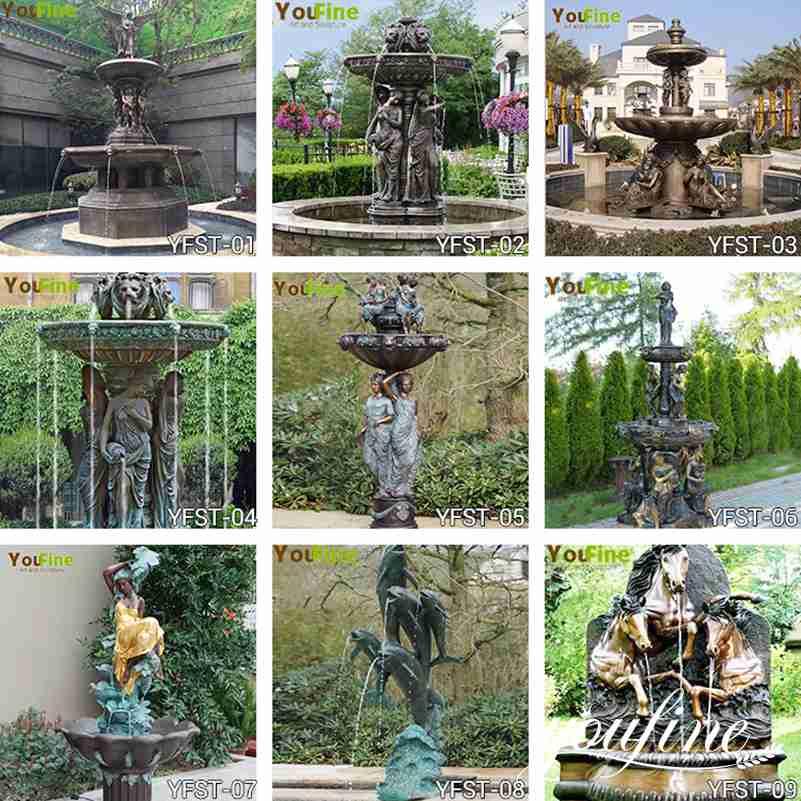 Bronze Water Fountain Statues Villa Garden Decor for Sale