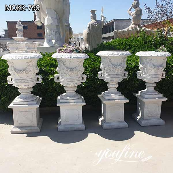 Classic White Marble Flower Pots Outdoor Garden Park Decor for Sale MOKK-796