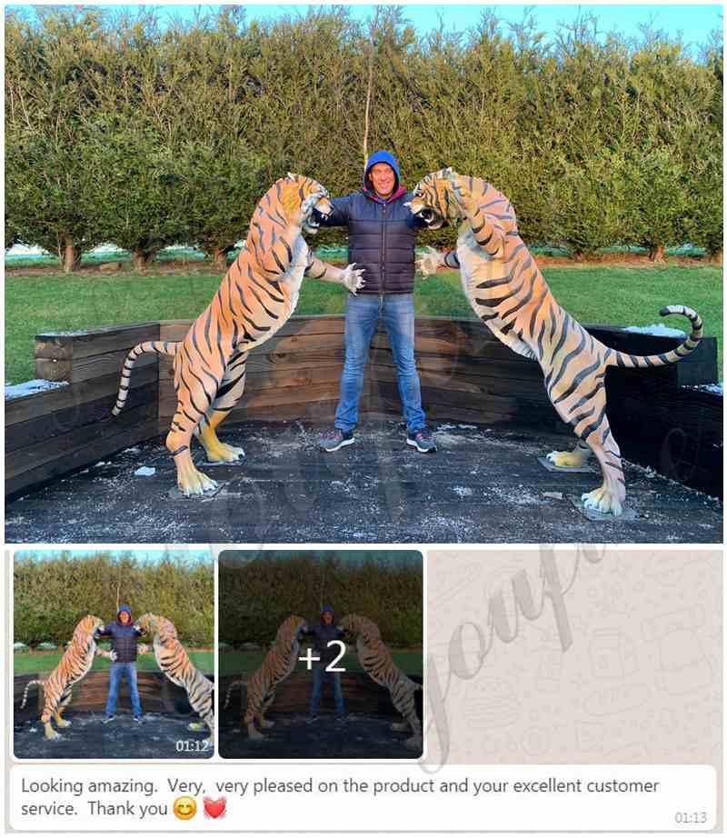 Custom Made Life Size Bronze Tiger Statues for Home Garden Decor