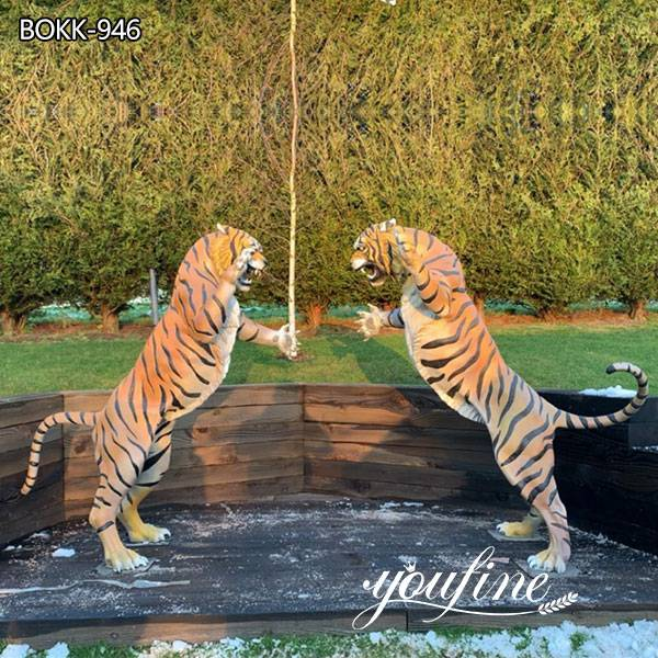 Garden Decor Life Size Outdoor Bronze Tiger Statues for Sale BOKK-946