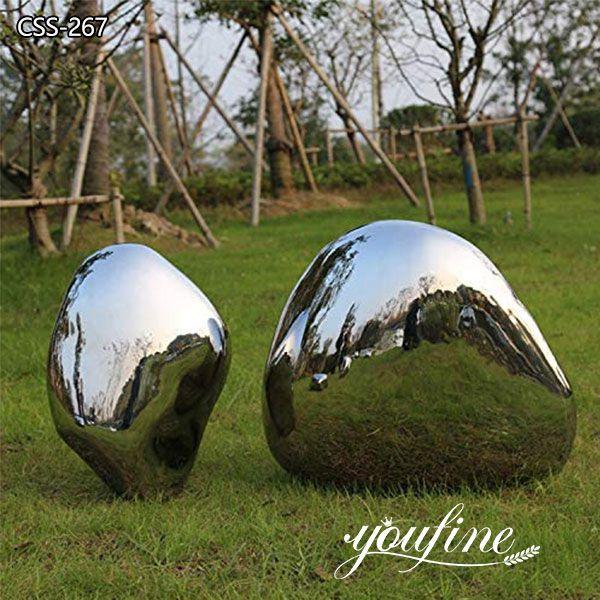 Garden Decor Mirror Polished Stainless Steel Cobblestone Sculpture for Sale
