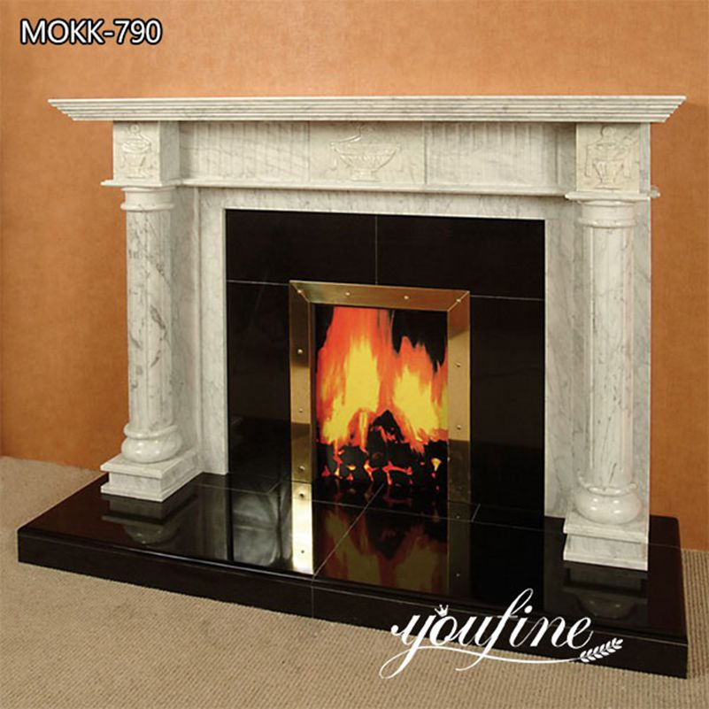 Hand Carved Modern White Marble Fireplace Facing for Sale MOKK-790
