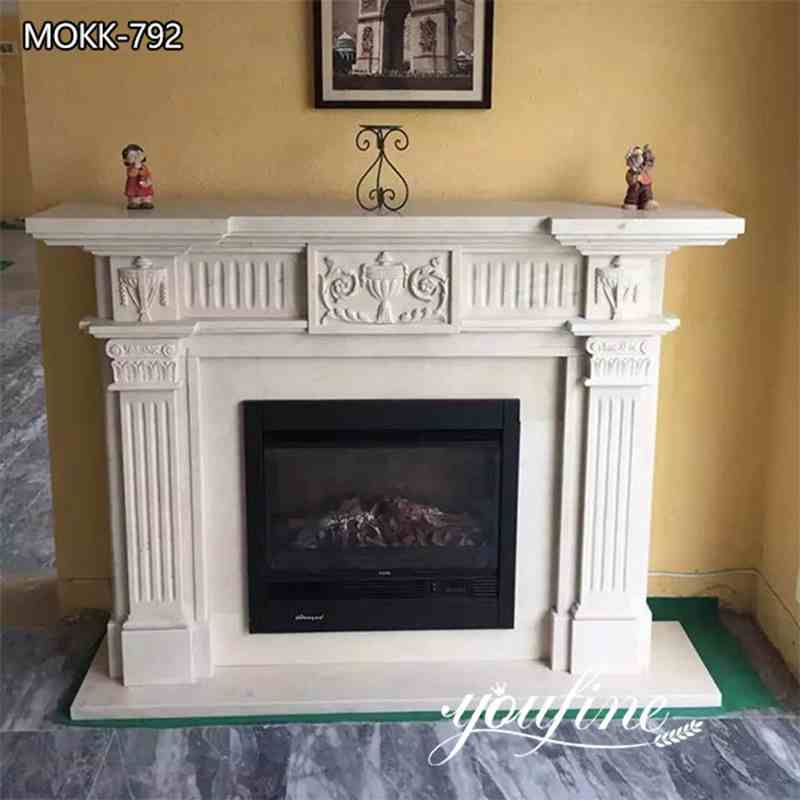 Hand Carved Regency White Marble Fireplace Mantel Home Decoration for Sale MOKK-792