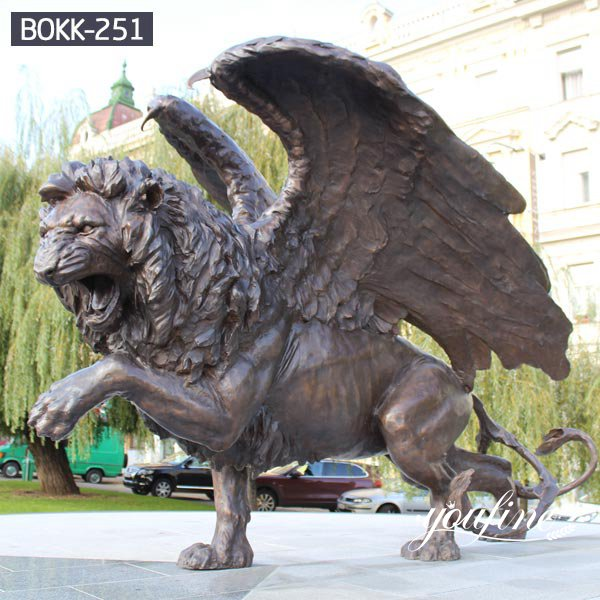 Hotel Decoration Large Bronze Wings Lion Statue for Sale BOKK-251