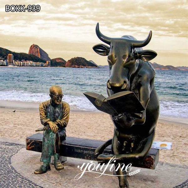 Large Bronze Bull Reading Book and Sitting Man Statue for Sale