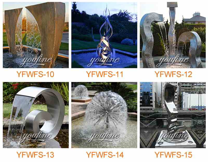Large Modern Metal Water Fountain Outdoor Garden Art Sculpture