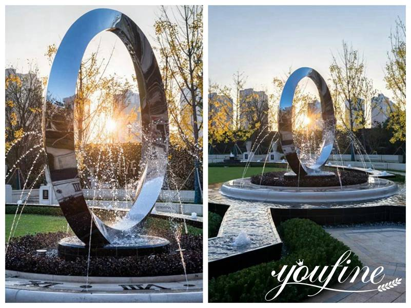 Large Modern Outdoor Ring Metal Sculpture Fountain