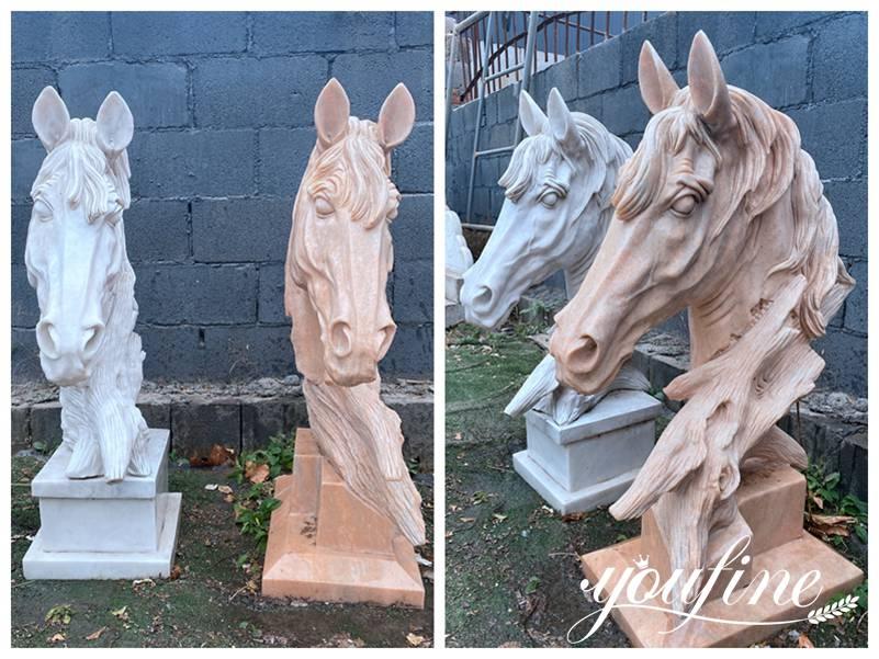 Large horse head statue
