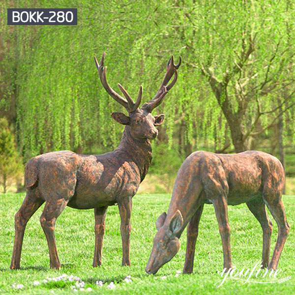 Life Size Bronze Elk and Deer Statue Garden Decor for Sale BOKK-274