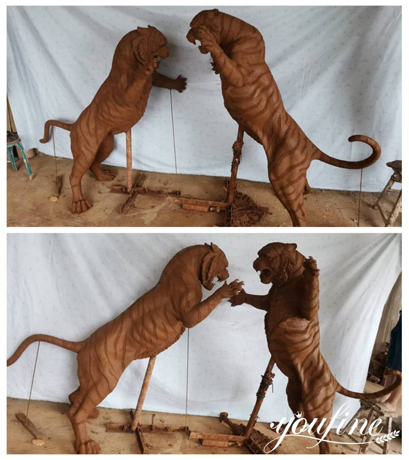 Life Size Bronze Tiger Statues for Home Garden Decor for US Client