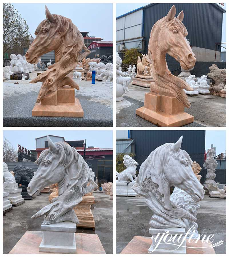 Marble Horse Head Garden Statue for Front door decoration