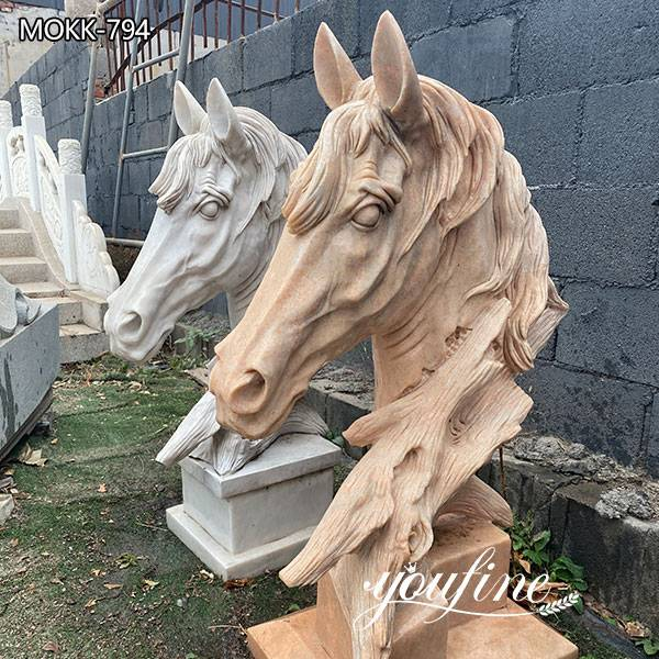 Outdoor Marble Horse Head Garden Statue for Sale for Front door decoration MOKK-794