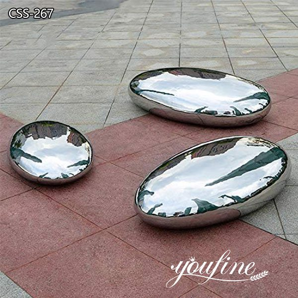 Mirror Polished Stainless Steel Cobblestone Sculpture for Sale