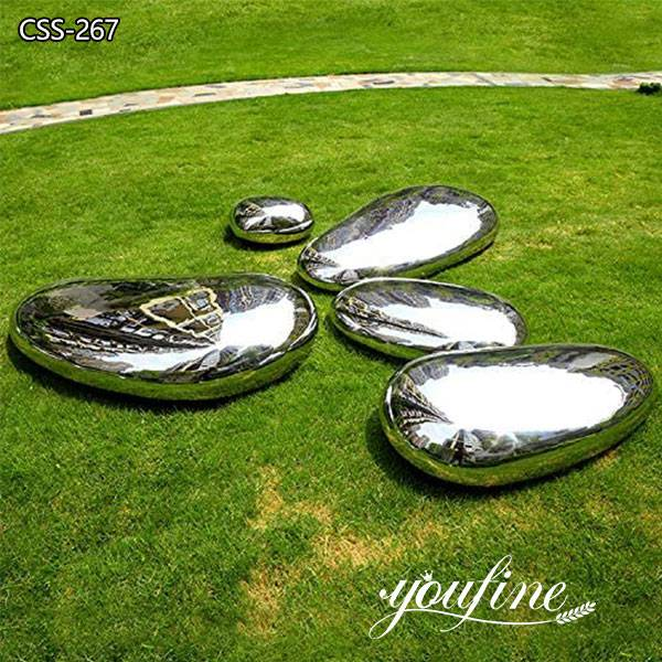 Mirror Polished Stainless Steel Cobblestone Sculpture
