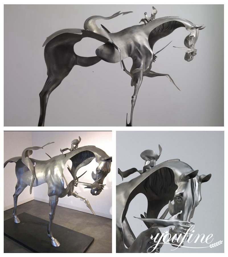 Modern Metal Horseman Sculpture Hotel Villa Decor for Sale