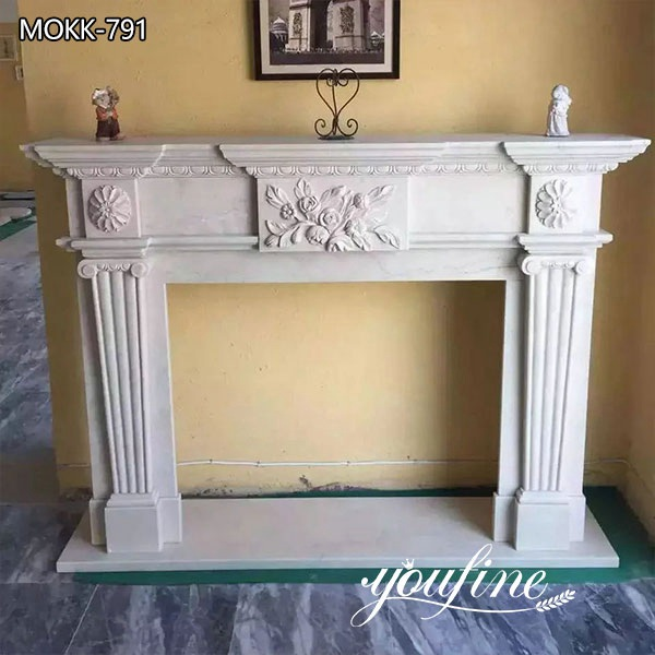 Modern Regency White Marble Fireplace Mantel Hotel Interior Ornament for Sale MOKK-791