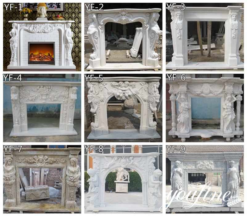 Modern White Marble Fireplace Mantel Hotel Interior Ornament for Sale