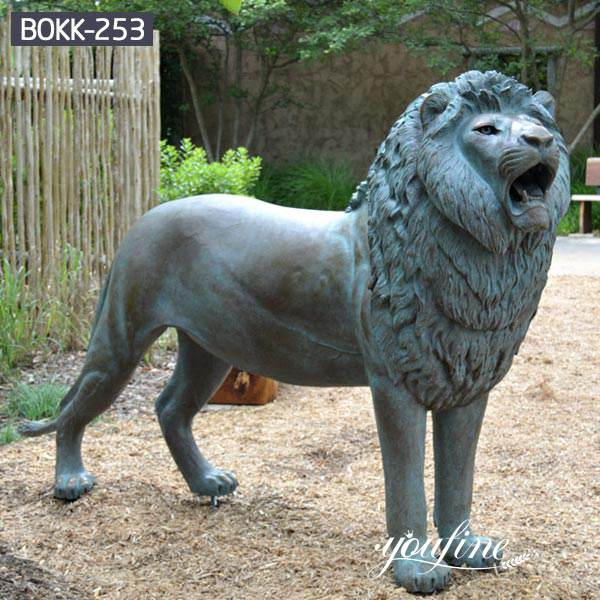 Patina Bronze Lion Statue for Sale China Factory BOKK-253