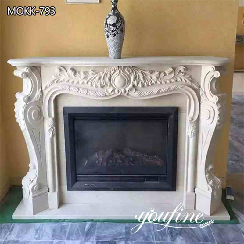Natural White Marble French Fireplace Mantel Surround for Sale MOKK-793