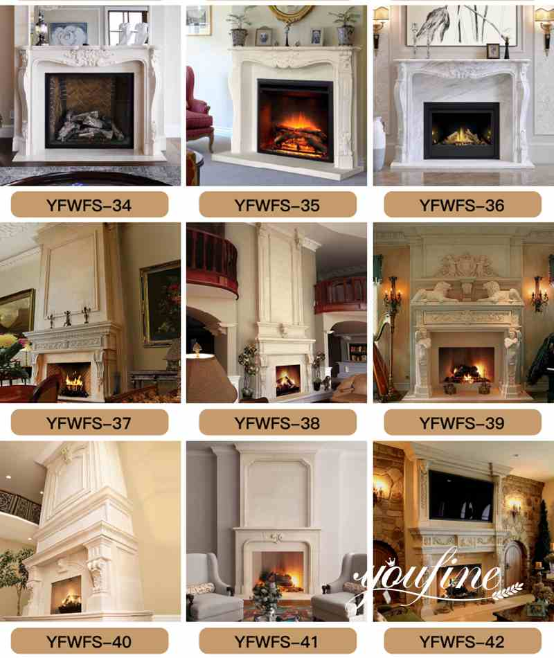 Natural White Marble French Fireplace Mantel Surround
