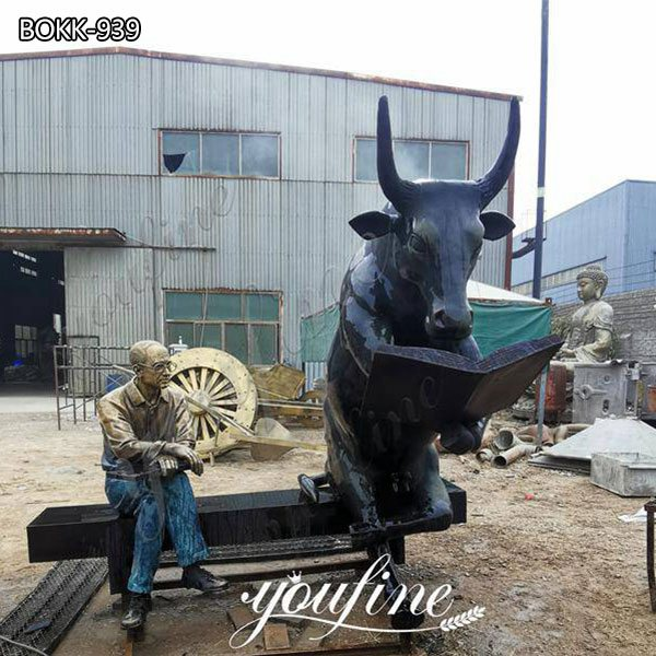 Outdoor Large Bronze Bull Reading Book and Sitting Man Statue for Sale