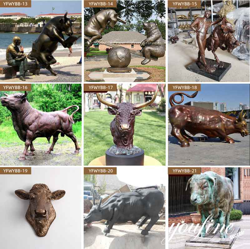 Outdoor Large Bronze Bull Statue for Sale