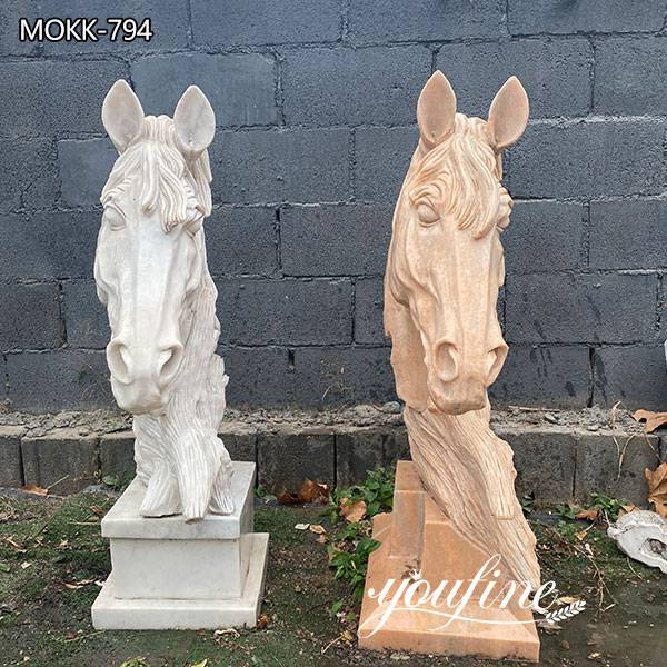 Outdoor Marble Horse Head Garden Statue for Sale for Front door decoration