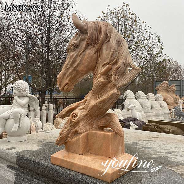 Outdoor Marble Horse Head Garden Statue for Sale