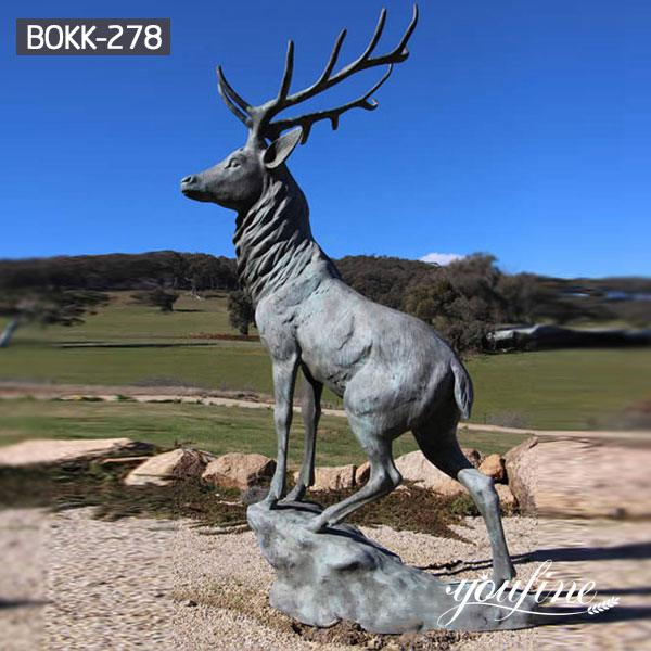 Outdoor Patina Life Size Bronze Elk Statue for Sale BOKK-278