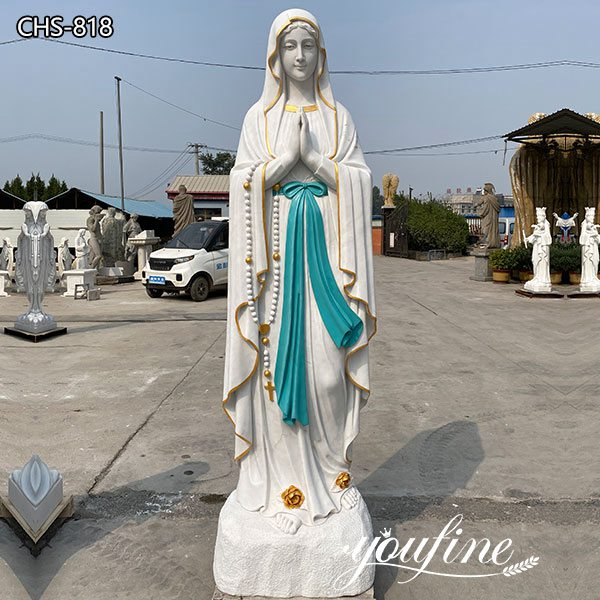 Painted Marble Our Lady of Lourdes Statue for Sale Outdoor Garden Church Decor
