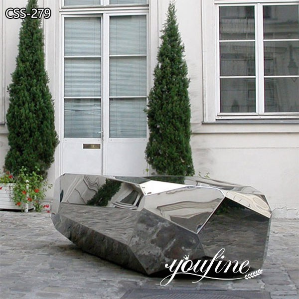 Polished Metal Bench Seating Sculpture