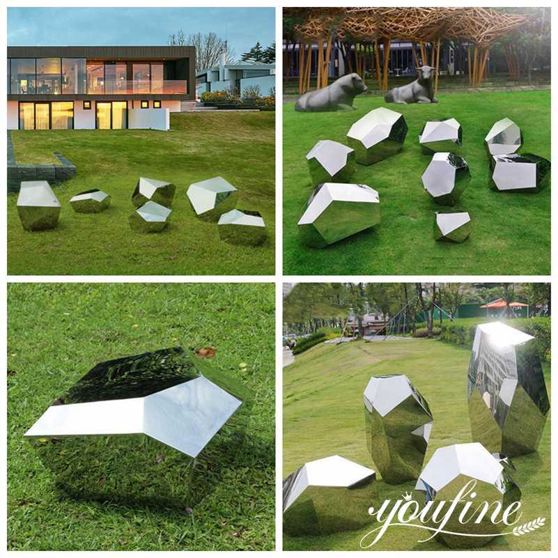 Polished Metal Bench Seating Sculpture Garden Landscape Decor for Sale